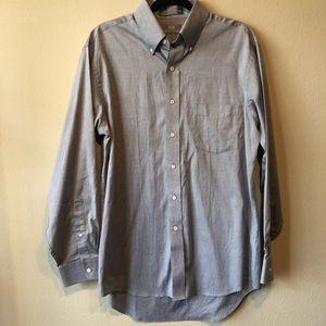 Mens Gray long sleeve dress shirt button up 16/34